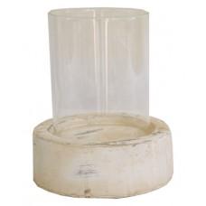 Hliněný svícen - sklo, bílý