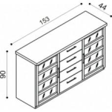 Komoda RÁCHEL 2 dvířka prosklená,sklo Matelux,4 zásuvky malé,dvě police  buk, v1