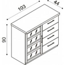 Komoda RÁCHEL dvířka prosklená L,sklo Matelux,4 zásuvky malé,dvě police buk