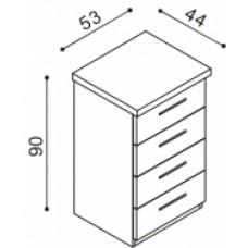 Komoda RÁCHEL  4 zásuvky malé  buk