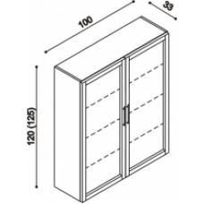 Knihovna RÁCHEL 2 bez soklu, vhodné postavit na komodu,dřevěné rámečky,dvířka prosklená,sklo Matelux buk